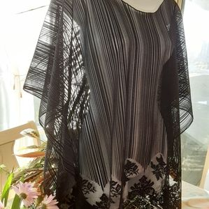Black Sheer Batwing Lace Top